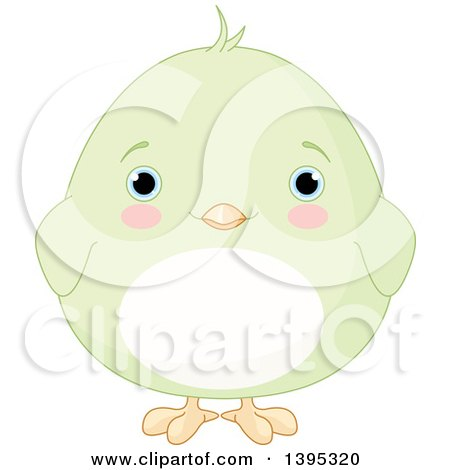 Clipart of a Cute Baby Green Chick with Blushing Cheeks - Royalty ...