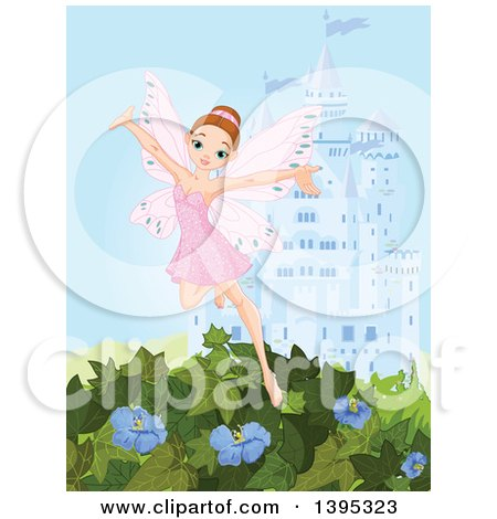 Clipart of a Happy Brunette White Female Fairy in a Pink Dress, Flying over Vines and Flowers Against a Castle - Royalty Free Vector Illustration by Pushkin