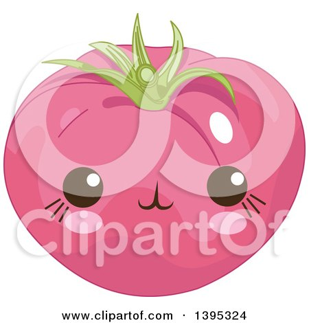 Clipart of a Cute Tomato Character with Blushing Cheeks - Royalty Free Vector Illustration by Pushkin