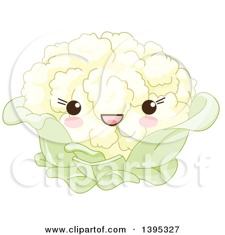 Clipart of a Cute Cauliflower Character with Blushing Cheeks - Royalty Free Vector Illustration by Pushkin