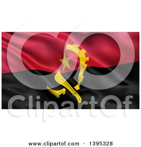 Clipart of a 3d Waving Angola Flag - Royalty Free Illustration by stockillustrations