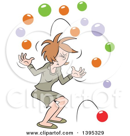 Clipart of a Cartoon Brunette White Business Woman with Too Many Balls in the Air - Royalty Free Vector Illustration by Johnny Sajem