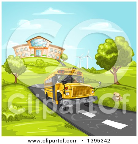 Clipart of a School Bus on a Road, with a Building on a Hill in the Background - Royalty Free Vector Illustration by merlinul