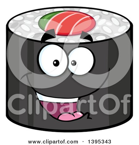 Clipart of a Cartoon Happy Sushi Roll Character - Royalty Free Vector Illustration by Hit Toon