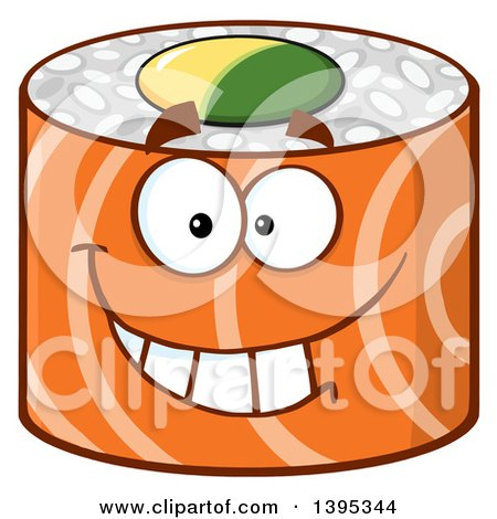 Clipart of a Cartoon Happy Salmon Sushi Roll Character - Royalty Free Vector Illustration by Hit Toon