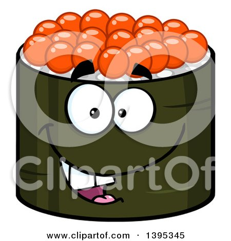 Clipart of a Cartoon Happy Caviar Sushi Roll Character - Royalty Free Vector Illustration by Hit Toon