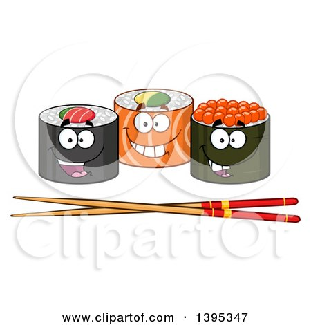 Clipart of Cartoon Happy Sushi Roll Characters with Chopsticks - Royalty Free Vector Illustration by Hit Toon