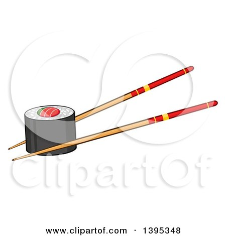Clipart of a Cartoon Pair of Chopsticks Holding a Sushi Roll - Royalty Free Vector Illustration by Hit Toon