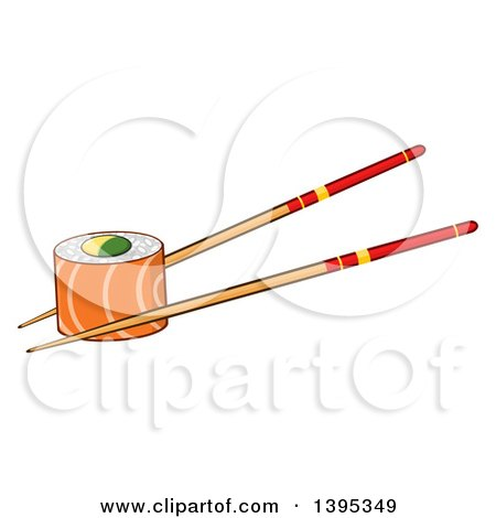 Clipart of a Cartoon Pair of Chopsticks Holding a Salmon Sushi Roll - Royalty Free Vector Illustration by Hit Toon