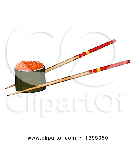 Clipart of a Cartoon Pair of Chopsticks Holding a Caviar Sushi Roll - Royalty Free Vector Illustration by Hit Toon