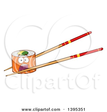 Clipart of a Cartoon Screaming Salmon Sushi Roll Character on Chopsticks - Royalty Free Vector Illustration by Hit Toon
