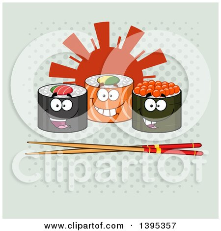 Clipart of Cartoon Happy Sushi Roll Characters with Chopsticks and a Sun on Halftone - Royalty Free Vector Illustration by Hit Toon