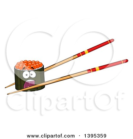 Clipart of a Cartoon Pair of Chopsticks Holding a Screaming Caviar Sushi Roll Character - Royalty Free Vector Illustration by Hit Toon