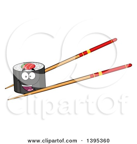 Clipart of a Cartoon Pair of Chopsticks Holding a Happy Sushi Roll Character - Royalty Free Vector Illustration by Hit Toon