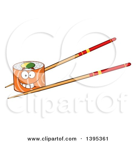 Clipart of a Cartoon Happy Salmon Sushi Roll Character on Chopsticks - Royalty Free Vector Illustration by Hit Toon
