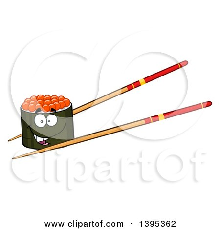 Clipart of a Cartoon Pair of Chopsticks Holding a Happy Caviar Sushi Roll Character - Royalty Free Vector Illustration by Hit Toon