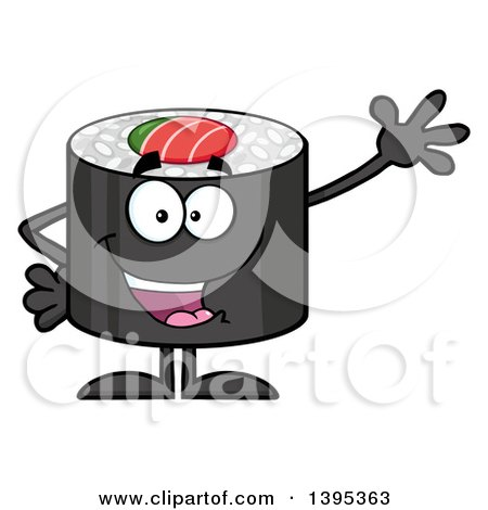 Clipart of a Cartoon Happy Sushi Roll Character Waving - Royalty Free Vector Illustration by Hit Toon