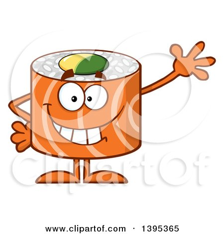 Clipart of a Cartoon Happy Salmon Sushi Roll Character Waving - Royalty Free Vector Illustration by Hit Toon