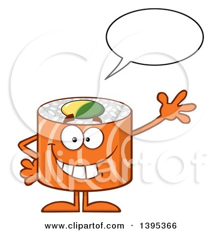 Clipart of a Cartoon Happy Salmon Sushi Roll Character Waving and Talking - Royalty Free Vector Illustration by Hit Toon