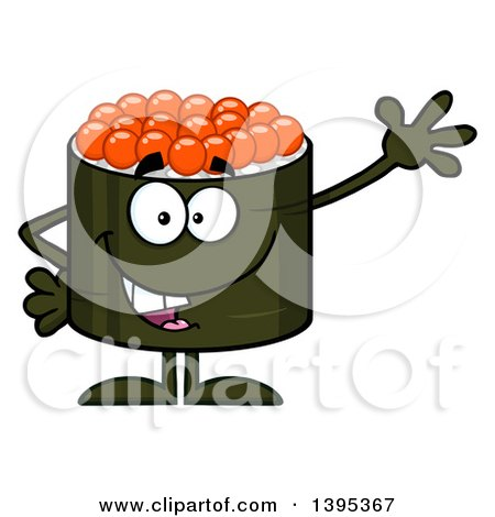 Clipart of a Cartoon Happy Caviar Sushi Roll Character Waving - Royalty Free Vector Illustration by Hit Toon