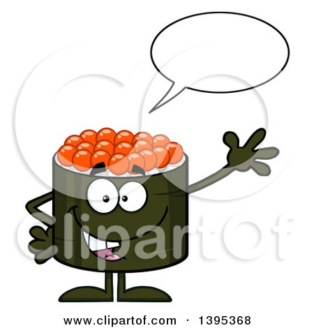 Clipart of a Cartoon Happy Caviar Sushi Roll Character Waving and Talking - Royalty Free Vector Illustration by Hit Toon