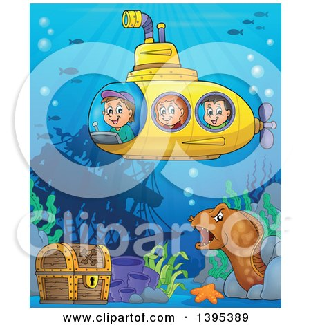 Clipart of Happy Children in a Submarine over a Ship Wreck, Sunken Treasure and Eel - Royalty Free Vector Illustration by visekart