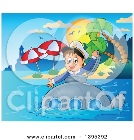 Clipart of a Happy Brunette Caucasian Sailor Boy Looking out of a Submarine Hatch, near a Lighthouse and Tropical Island - Royalty Free Vector Illustration by visekart