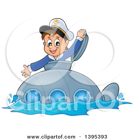 Clipart Of A Happy Brunette Caucasian Sailor Boy Looking Out Of A Submarine Hatch Royalty Free Vector Illustration