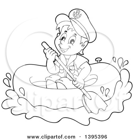 raft coloring page - clipart of a black and white lineart sailor boy in a raft