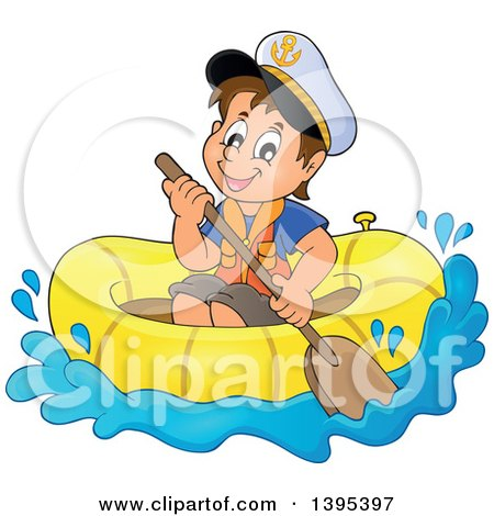 Clipart of a Happy Brunette Caucasian Sailor Boy in a Raft or Emergency Boat - Royalty Free Vector Illustration by visekart