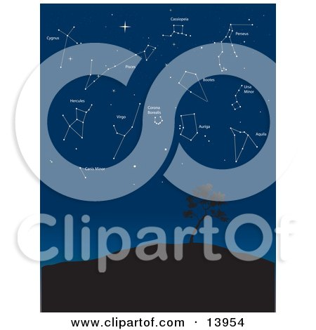 Constellations Cygnus, Hercules, Cassiopeia, Perseus, Pisces, Bootes, ursa Minor, Aquila, Auriga, Corona Borealis, Canis Minor, and Virgo in the Night Sky Clipart Illustration by Rasmussen Images
