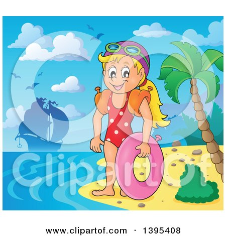 Clipart of a Cartoon Happy Caucasian Girl Holding an Inner Tube and Wearing Arm Floaties on a Tropical Beach, with a Ship in the Distance - Royalty Free Vector Illustration by visekart