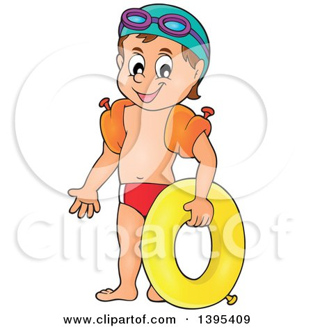 Clipart of a Cartoon Happy Caucasian Boy Holding an Inner Tube and Wearing Arm Floaties - Royalty Free Vector Illustration by visekart