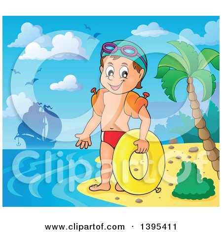 Clipart of a Cartoon Happy Caucasian Boy Holding an Inner Tube and Wearing Arm Floaties on a Tropical Beach, with a Ship in the Distance - Royalty Free Vector Illustration by visekart