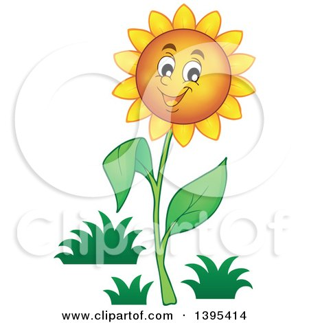 Clipart of a Happy Sunflower - Royalty Free Vector Illustration by visekart