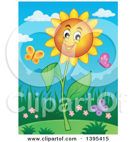 Clipart of a Happy Sunflower and Butterflies - Royalty Free Vector Illustration by visekart