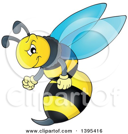 Clipart of a Cartoon Tough Wasp - Royalty Free Vector Illustration by visekart