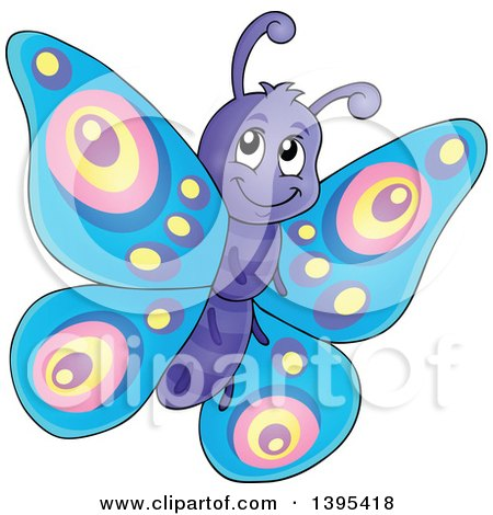 Clipart of a Happy Butterfly Flying - Royalty Free Vector Illustration by visekart