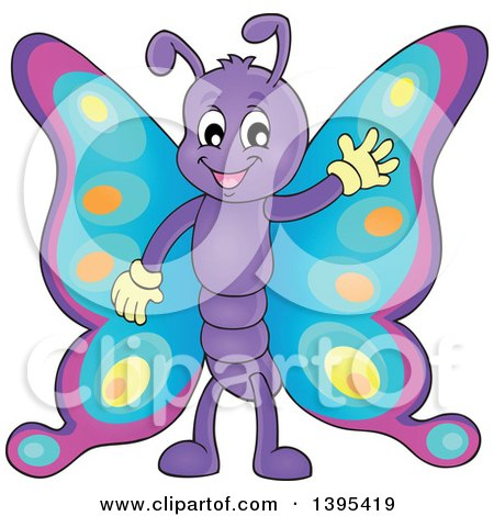 Clipart of a Happy Butterfly Waving - Royalty Free Vector Illustration by visekart