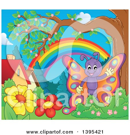 Clipart of a Happy Butterfly Waving in a Yard - Royalty Free Vector Illustration by visekart