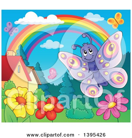 Clipart of a Happy Butterfly over Flowers in a Yard - Royalty Free Vector Illustration by visekart