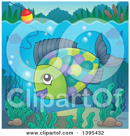 Clipart of a Freshwater Fish Under a Hook and Bobber - Royalty Free Vector Illustration by visekart