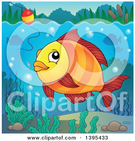 Clipart of a Freshwater Fish Looking at a Hook and Bobber - Royalty Free Vector Illustration by visekart