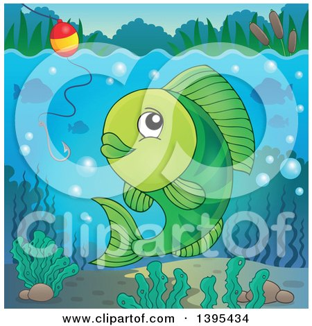 Clipart of a Green Freshwater Fish Looking at a Hook and Bobber - Royalty Free Vector Illustration by visekart