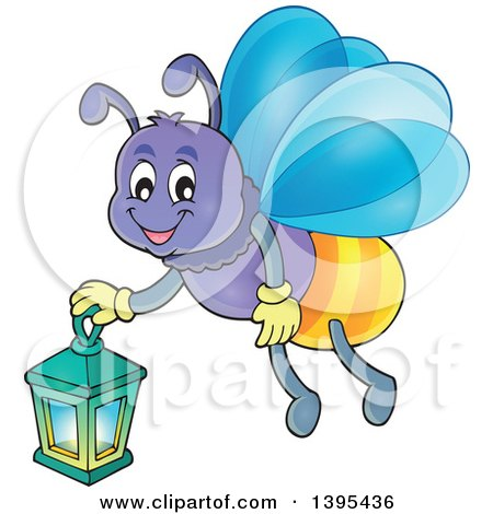 Clipart of a Cartoon Happy Firefly Holding a Lantern - Royalty Free Vector Illustration by visekart