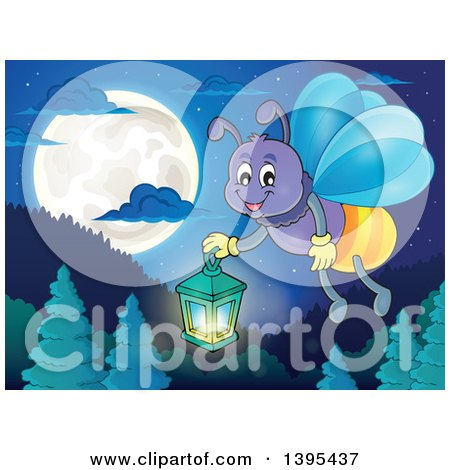 Cartoon Happy Firefly Holding a Lantern over a Full Moon and Mountains Posters, Art Prints