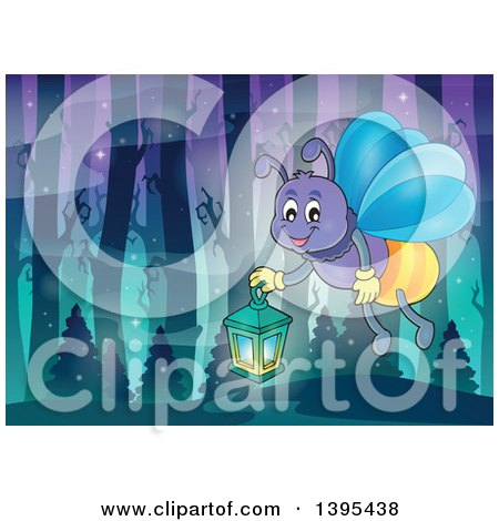 Clipart of a Cartoon Happy Firefly Holding a Lantern in a Forest - Royalty Free Vector Illustration by visekart