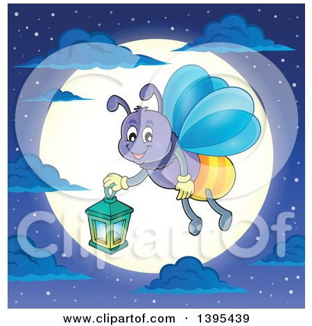 Clipart of a Cartoon Happy Firefly Holding a Lantern over a Full Moon - Royalty Free Vector Illustration by visekart