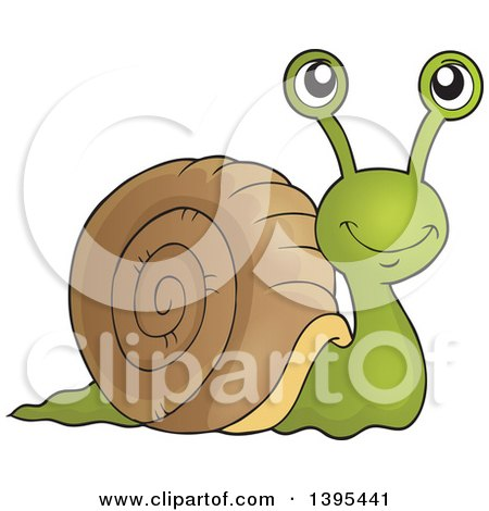 Clipart of a Happy Brown and Green Snail - Royalty Free Vector Illustration by visekart