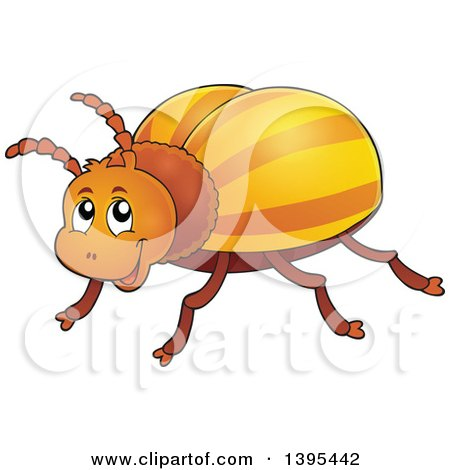 Clipart of a Happy Striped Beetle - Royalty Free Vector Illustration by visekart